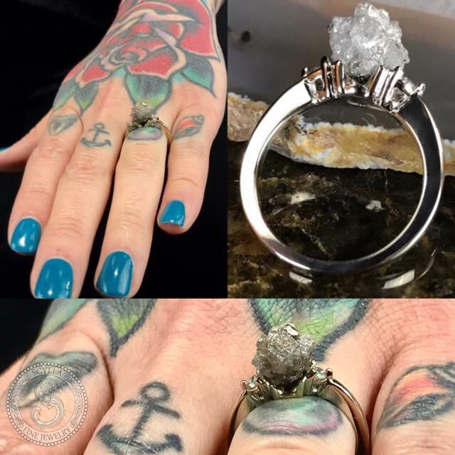 Custom Raw Diamond Engagement Ring